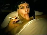 Sexy slut smokes and sucks cock alike