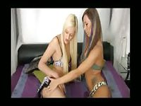 Blonde shemale fiercely fucking her friend's pussy
