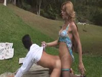 He lets her fuck him at picnic