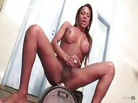 Black tgirl rides her rubber dildo after bath
