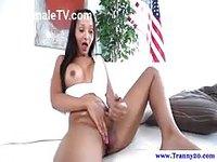 Ladyboy brunette stroking her erect dick
