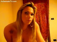 Blonde tgirl teasing with her new camera