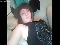 Pretty emo girl playing with her dick