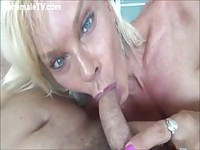 Trashy blonde shemale slut loves the cock