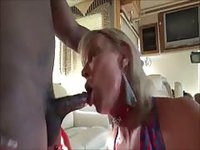Mature amateur Tgirl takes a black cock in her gaping asshole