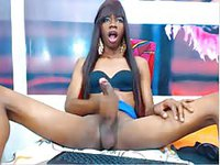 Ebony Tgirl stroking her big black cock