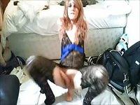 Skinny teen Tgirl riding her favorite dildo