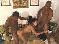 Shemale Carla Fael fucked by two cowboys