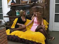 Stunning brunette gets nailed on all fours by hot tranny