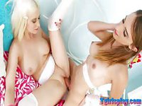 Cute blonde gets her pussy nailed by hot tranny