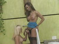 Amazonian Tgirl bangs her blonde slut from behind