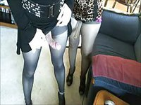 Amateur shemales banging on the sofa fully clothed