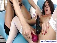 Blonde shemale pleasures fun brunette with dildo and vibrator