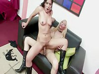 Curly haired brunette rides blonde trans-woman