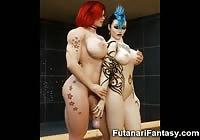 3D Hot Lesbian Futanari Babes!