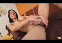 Brunette mature tranny in black high heels masturbating