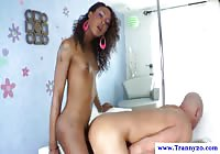 Sexy black petite transsexual screwing a white dude after he blows her