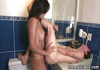 Transsexual milf with pierced tits slamming a skinny guy
