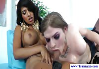 Well-endowed pair of transsexual cougars sucking each other off