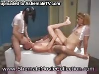 Pair of skinny shemale sluts using a willing twink for blowjobs and sex
