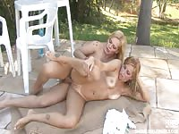 Leggy stunning cougar gets her sweet cunt stuffed with transsexual dick while outdoors one day