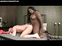 Bald middle-aged white twink getting his once snug asshole stuffed with a big black tranny cock