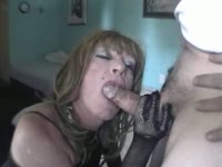 Sperm thirsty older transsexual slut Diannexxxcd giving a blowjob in this homemade oral flick