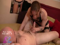Middle-aged dude with a meaty cock lays back and enjoys a blowjob from shemale Dona Abelar