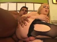 Sinful shemale Fernanda Andrade wearing a sexy lingerie ensemble while banging a black dude