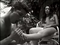 Fantastic tranny Fernanda Mineira and her shemale girlfriend teasing a submissive young guy