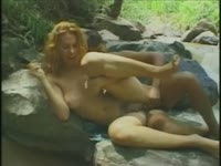 Curly haired shemale whore Fernanda Mineira riding a big dick while outdoors hiking with a guy