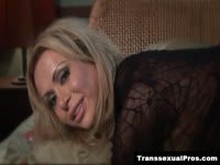 Seductive transsexual MILF Gia darling modeling in a crotchless bodystocking on live webcam