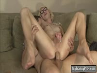 Lanky blonde xxx video newcomer Holly Parker sucks and fucks a dude that enjoys tranny sex