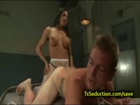 Star athlete bends over and gets his asshole stuffed well by transsexual slut Jaquelin Braxton