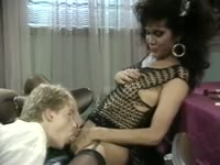 Old school hardcore transsexual sex movie featuring a dude and shemale slut Julie Bond