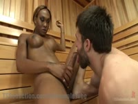 Fit ebony transsexual beauty Kayla Biggs letting a cock hungry white dude suck her dick