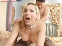 Pretty transsexual coed Lara Saralegui putting her mouth and ass to work on a large dudes dick