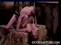 Old school shemale sex video featuring Lony Brown taking an anal pounding from a hard dude