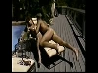 Classic homemade transsexual sex movie featuring shemale slut Lony Brown fucked poolside