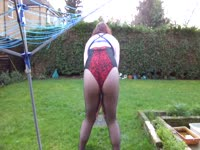 Naughty open-minded transsexual cougar Lucy Fox prances around her backyard while teasing