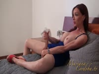 Masked dude excited to have his cock pleasured by transsexual babe Mariana Cordoba