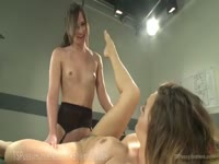 Beautiful redhead amateur coed makes her debut getting fucked by tranny Michelle Firestone