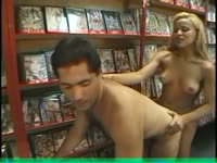 Sperm thirsty dude lets stunning young transsexual Monique Prado screw his ass in video store