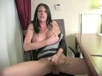 Dirty shemale newcomer Morgan Bailey exposes her sweet perky tits and jerks her shaft good
