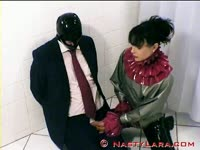 Submissive dude in a black mask forced to orally pleasure hung transsexual whore Nasty Lara
