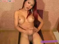 First-timer Neung makes her transsexual porn video debut stroking her bi manly shaft