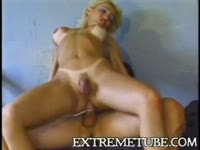 Lucious tranny Niky Muniky shows off her fantastic cock sucking skills before anal smashing