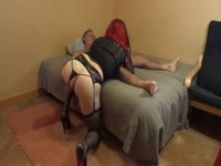 Beautiful red-haired shemale is giving head to her stepfather