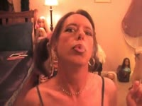 Thigh high wearing transsexual Thomasina makes her webcam debut smoking and modeling