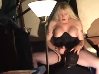 Submissive middle aged dude getting his asshole used by hung transsexual babe Tisha Dupree